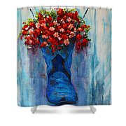 Cowboy Boot Unusual Pot Series Shower Curtain by Patricia Awapara