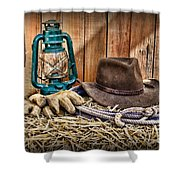 Cowboy Hat and Rodeo Lasso Shower Curtain by Paul Ward