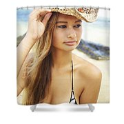 Cowboy Hat at the Beach Shower Curtain by Kicka Witte