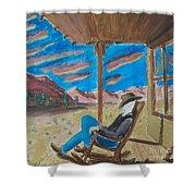 Cowboy Sitting In Chair At Sundown Shower Curtain by John Lyes