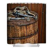 Cowboy Spurs On Wooden Barrel Shower Curtain by Paul Ward
