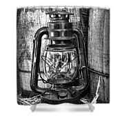Cowboy themed Wood Barrels and Lantern in black and white Shower Curtain by Paul Ward
