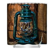Cowboy Themed Wood Barrels And Lantern Shower Curtain by Paul Ward