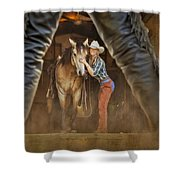 Cowgirl And Cowboy Shower Curtain by Susan Candelario