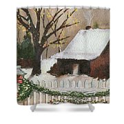 Cozy Cottage Shower Curtain by Cheryl Young