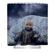 Creepy Doll Shower Curtain by Joana Kruse