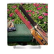 Cricket At The Club Shower Curtain by Tom Gari Gallery-Three-Photography