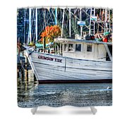 Crimson Tide In Harbor Shower Curtain by Michael Thomas