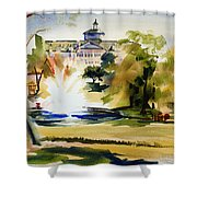 Crisp Water Fountain At The Baptist Home II Shower Curtain by Kip DeVore