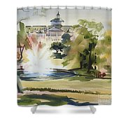 Crisp Water Fountain At The Baptist Home IIi Shower Curtain by Kip DeVore