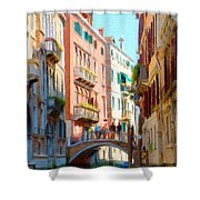 Crossing The Canal Shower Curtain by Jeff Kolker