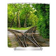 Crossing The Lines Shower Curtain by Joy Hardee