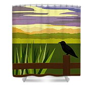 Crow In The Corn Field Shower Curtain by Val Arie