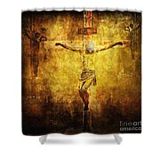 Crucified Via Dolorosa 12 Shower Curtain by Lianne Schneider