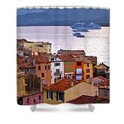 Cruise Ships At St.tropez Shower Curtain by Elena Elisseeva