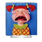 Crying Girl Shower Curtain by Amy Vangsgard
