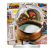 Crystal Ball And Tarot Cards Shower Curtain by Garry Gay