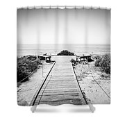 Crystal Cove Overlook Black And White Picture Shower Curtain by Paul Velgos