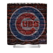 Cubs Baseball Graffiti On Brick  Shower Curtain by Movie Poster Prints