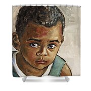Curious Little Boy Shower Curtain by Xueling Zou