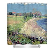 Curving Beach Shower Curtain by William James Glackens