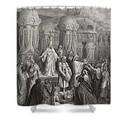 Cyrus Restoring The Vessels Of The Temple Shower Curtain by Gustave Dore