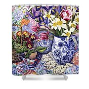 Daffodils Tulips and Iris in a Jacobean Blue and White Jug with Sanderson Fabric and Primroses Shower Curtain by Joan Thewsey