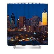 Dallas Skyline Panorama Shower Curtain by Inge Johnsson