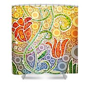 Dancing Flowers Shower Curtain by Linda Bailey