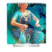 Dancing Girl With Gold Necklace Shower Curtain by Janette Boyd