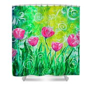 Dancing Tulips Shower Curtain by Jan Marvin