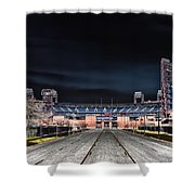 Dark Skies At Citizens Bank Park Shower Curtain by Bill Cannon