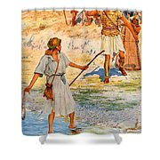 David And Goliath Shower Curtain by William Henry Margetson
