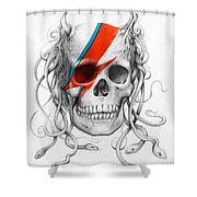 David Bowie Aladdin Sane Medusa Skull Shower Curtain by Olga Shvartsur