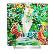 David Bowie Watercolor Portrait.2 Shower Curtain by Fabrizio Cassetta