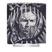 David Gilmour Of Pink Floyd - Echoes Shower Curtain by Sean Connolly