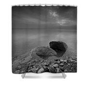 Dead Sea Sunrise Black And White Shower Curtain by David Morefield
