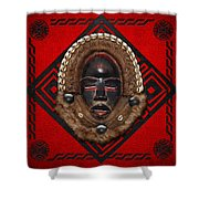 Dean Gle Mask By Dan People Of The Ivory Coast And Liberia On Red Leather Shower Curtain by Serge Averbukh