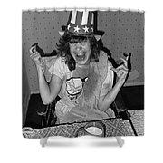 Debbie C. Celebrating July 4th Lincoln Gardens Tucson Arizona 1990 Shower Curtain by David Lee Guss