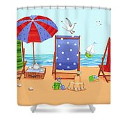 Deckchairs Shower Curtain by Peter Adderley
