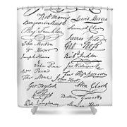 Declaration: Signatures Shower Curtain by Granger