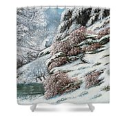 Deer In A Snowy Landscape Shower Curtain by Gustave Courbet