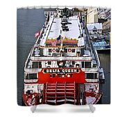 Delta Queen In Christmas Snow Shower Curtain by Tom and Pat Cory