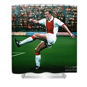 Dennis Bergkamp Ajax Shower Curtain by Paul  Meijering