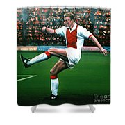 Dennis Bergkamp Ajax Shower Curtain by Paul Meijering