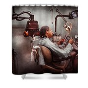 Dentist - Waiting for the Dentist Shower Curtain by Mike Savad