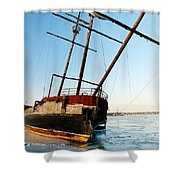 Derelict Faux Tall Ship Shower Curtain by Trever Miller