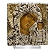 Detail Of An Icon Showing The Virgin Of Kazan By Yegor Petrov Shower Curtain by Russian School