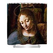 Detail Of The Head Of The Virgin Shower Curtain by Leonardo Da Vinci