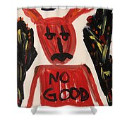 devil with NO GOOD tee shirt Shower Curtain by Mary Carol Williams